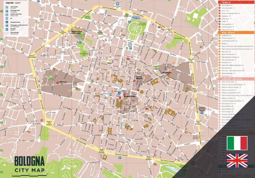 Mappa Bologna Cartina.Mappa Turistica Di Bologna In Blocchi A Strappo